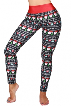 Womens High Waist Christmas Santa Printed Ankle Length Leggings Black