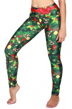 Womens High Waist Christmas Tree Printed Leggings Dark Green