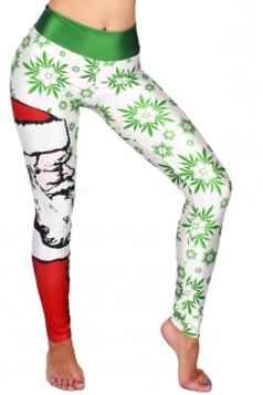 Womens High Waist Christmas Snowflake Printed Leggings White