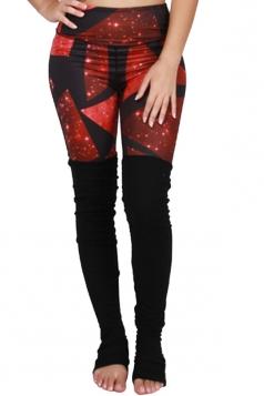 Womens High Waist Galaxy Printed Patchwork Yoga Sports Leggings Ruby