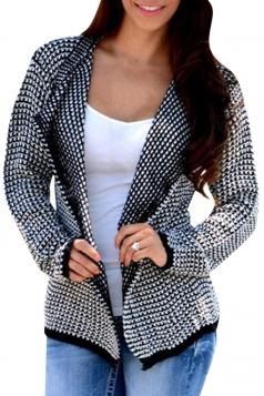 Womens Long Sleeve Irregular Cardigan Sweater Black