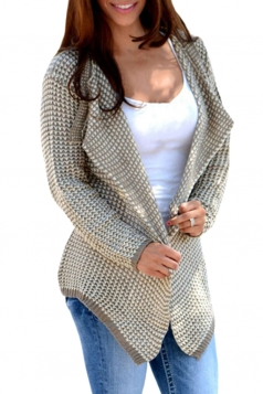 Womens Long Sleeve Irregular Cardigan Sweater Khaki