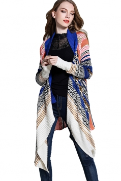 Womens Irregular Long Sleeve Patterned Cardigan Sweater Blue