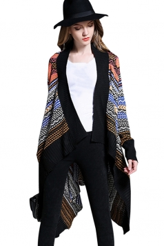 Womens Irregular Long Sleeve Patterned Cardigan Sweater Black