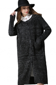 Womens Side Slit Single-breasted Cardigan Sweater Dark Gray