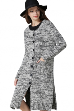Womens Side Slit Single-breasted Cardigan Sweater Light Gray