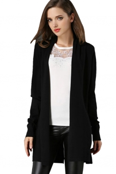 Womens Loose Long Sleeve Slit Back Plain Cardigan Sweater Black