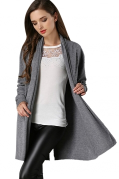 Womens Loose Long Sleeve Slit Back Plain Cardigan Sweater Gray