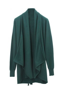 Womens Loose Lapel Collar Long Sleeve Plain Cardigan Dear Green