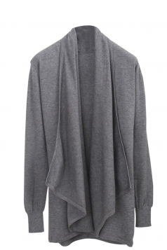 Womens Loose Lapel Collar Long Sleeve Plain Cardigan Gray