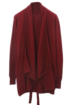 Womens Loose Lapel Collar Long Sleeve Plain Cardigan Ruby