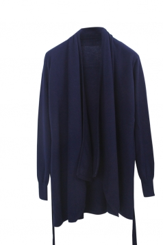 Womens Loose Lapel Collar Long Sleeve Plain Cardigan Navy Blue