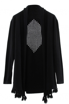 Womens Hollow Out Long Sleeve Tassel Plain Cardigan Sweater Black