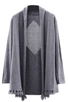 Womens Hollow Out Long Sleeve Tassel Plain Cardigan Sweater Gray
