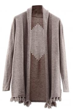 Womens Hollow Out Long Sleeve Tassel Plain Cardigan Sweater Khaki