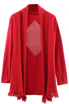 Womens Hollow Out Long Sleeve Tassel Plain Cardigan Sweater Red