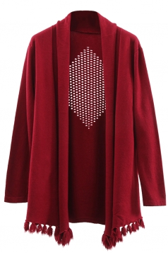 Womens Hollow Out Long Sleeve Tassel Plain Cardigan Sweater Ruby