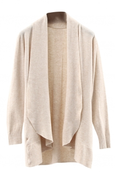 Womens Lapel Collar Long Sleeve Plain Cardigan Sweater Apricot