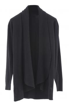Womens Lapel Collar Long Sleeve Plain Cardigan Sweater Black