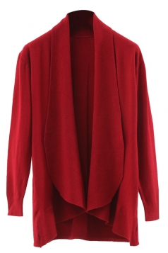 Womens Lapel Collar Long Sleeve Plain Cardigan Sweater Red