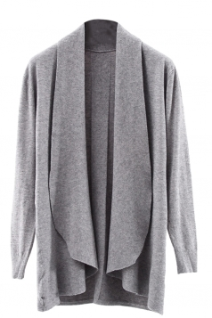 Womens Lapel Collar Long Sleeve Plain Cardigan Sweater Gray