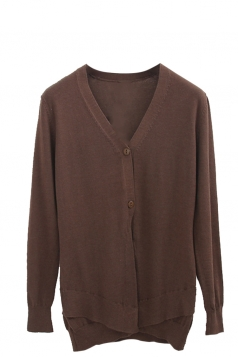 Womens V Neck Two-button Patchwork Plain Cardigan Sweater Coffee