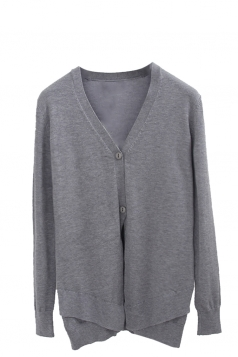 Womens V Neck Two-button Patchwork Plain Cardigan Sweater Gray