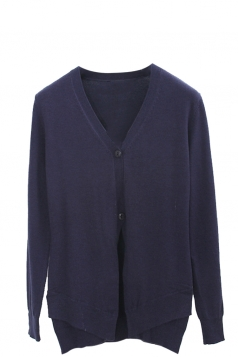 Womens V Neck Two-button Patchwork Plain Cardigan Sweater Navy Blue