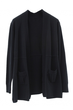 Womens Plain Long Sleeve Pockets Cardigan Sweater Black