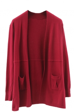 Womens Plain Long Sleeve Pockets Cardigan Sweater Red