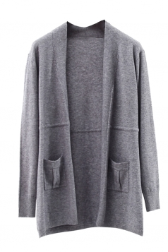 Womens Plain Long Sleeve Pockets Cardigan Sweater Gray