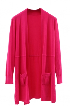 Womens Plain Long Sleeve Pockets Cardigan Sweater Rose Red