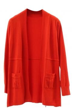 Womens Plain Long Sleeve Pockets Cardigan Sweater Tangerine
