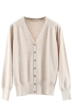 Womens V Neck Single-breasted Banded Hem Cardigan Sweater Apricot
