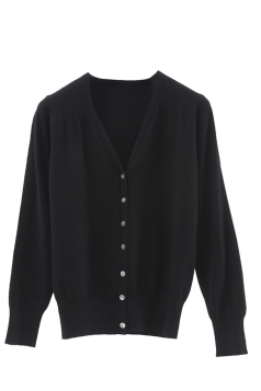 Womens V Neck Single-breasted Banded Hem Cardigan Sweater Black