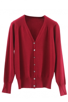 Womens V Neck Single-breasted Banded Hem Cardigan Sweater Ruby