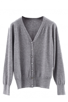 Womens V Neck Single-breasted Banded Hem Cardigan Sweater Gray