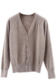 Womens V Neck Single-breasted Banded Hem Cardigan Sweater Khaki