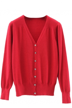 Womens V Neck Single-breasted Banded Hem Cardigan Sweater Red