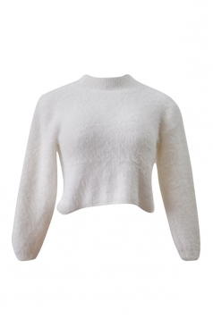Womens High Neck Long Sleeve Crop Plain Pullover Sweater Beige White