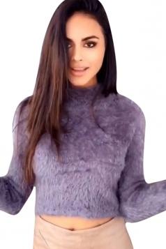 Womens High Neck Long Sleeve Crop Plain Pullover Sweater Purple