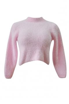 Womens High Neck Long Sleeve Crop Plain Pullover Sweater Pink