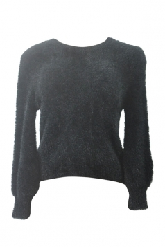 Womens Plain Round Neck Long Sleeve Pullover Sweater Black