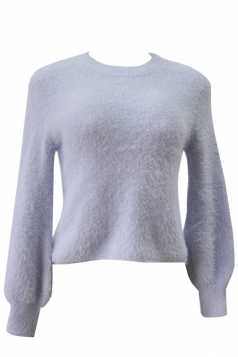 Womens Plain Round Neck Long Sleeve Pullover Sweater Gray