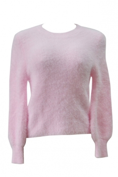 Womens Plain Round Neck Long Sleeve Pullover Sweater Pink