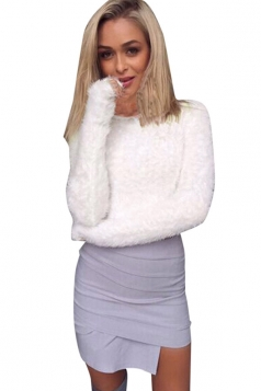 Womens Plain Round Neck Long Sleeve Pullover Sweater White