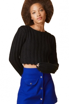 Womens Plain Cable Knit Long Sleeve Crop Pullover Sweater Black