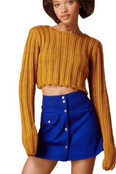 Womens Plain Cable Knit Long Sleeve Crop Pullover Sweater Ginger
