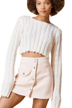 Womens Plain Cable Knit Long Sleeve Crop Pullover Sweater White