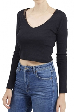 Womens V Neck Long Sleeve Plain Crop Pullover Sweater Black